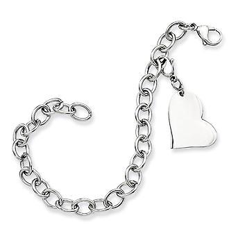 Edelstahl poliert gravierbare Phantasie Hummer Verschluss Liebe Herz Charme 8 Zoll Armband Schmuck Geschenke für Frauen