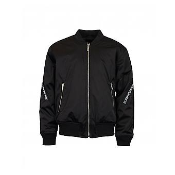 Armani Junior Tape Logo Nylon Bomber Jacket
