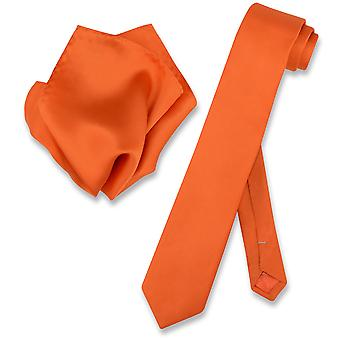 Biagio 100 % soie cravate Skinny solide Mens cravate & mouchoir