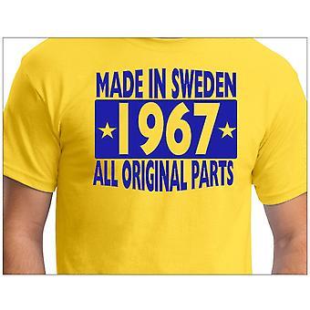 Camiseta amarela feita na Suécia 1967 Todas as peças originais