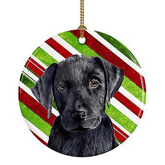 Bastón de caramelo de Labrador vacaciones Navidad adorno cerámica SC9324