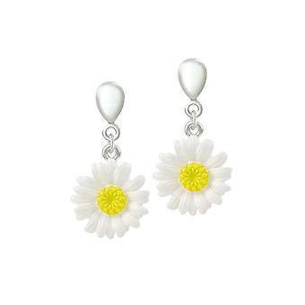 Eternal Collection Dainty Daisy Enamel Flower Silver Tone Drop Screw Back Clip On Earrings