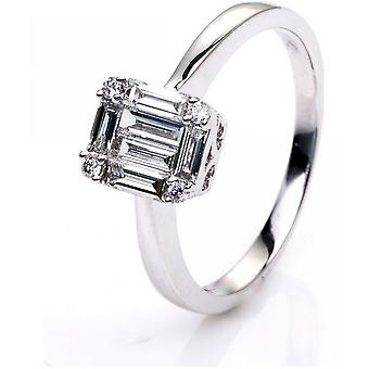 Diamond ring - 18K 750/- white gold - 0.46 ct. Size 52