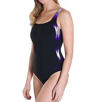 Speedo Womens Lunalustre One Piece U tillbaka simma simning kostym baddräkt svart