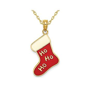 14K Yellow Gold Ho Ho Ho Christmas Stocking Charm Pendant Necklace with Chain