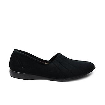 GBS Audrey Black Velour Womens Slip On Full Shoe Slippers
