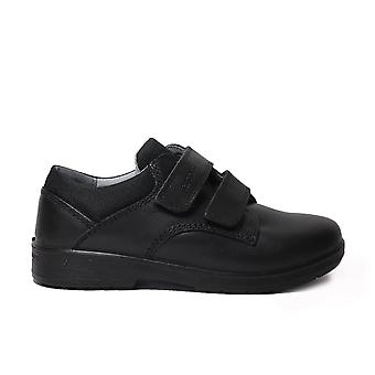 Ricosta William Wide Fit Black Leather Boys Rip Tape School Shoes