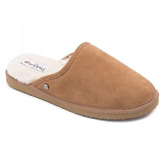Padders Nevis Mens Suede Wide (g Fit) Slippers Camel