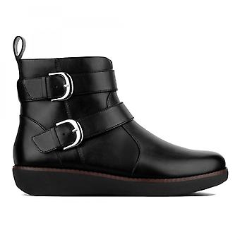 FitFlop Laila Double Buckle Ladies Leather Ankle Boots Black