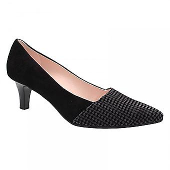 Peter Kaiser Hena Black Suede Low Lace Up Court Shoe