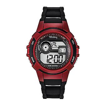 Tekday 655979 Watch - Digital Multifunction Silicone Black and Red Men