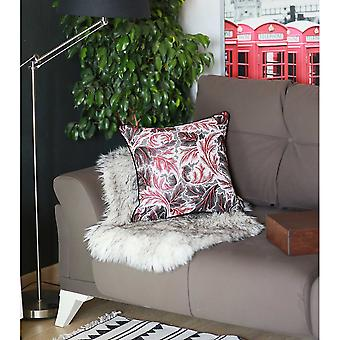 Black Red and White Jacquard Leaf Decorative Throw Pillow Cover