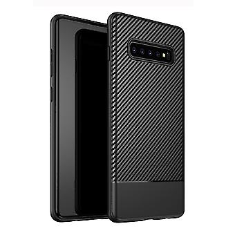 For Samsung Galaxy S10 Plus Case Black Carbon Fibre Texture TPU Back Cover