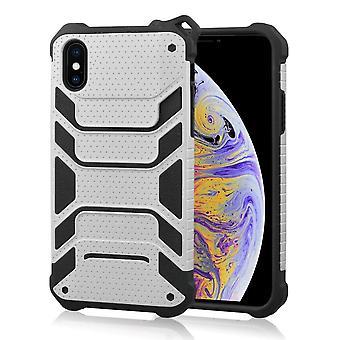 ajaksi iPhone XS Max Kansi, iskunkestävä pölytiivis vahva panssarin puhelimen kotelo, hopea