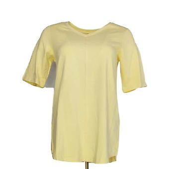 Denim & Co. Women's Top XXS Essential Elbow Sleeve V Neck Yellow A278986