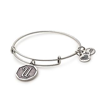Alex and Ani Rafaelian Silver Initial U Charm Bangle