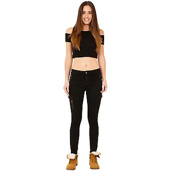 Slim Skinny Stretch Mid Rise Cargo Combat Jeans