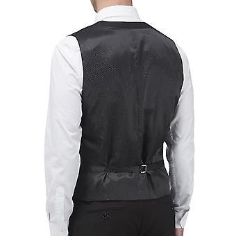 Skopes Mens Madrid Big Tall Button Front Adjustable Back Suit Waistcoat - Black