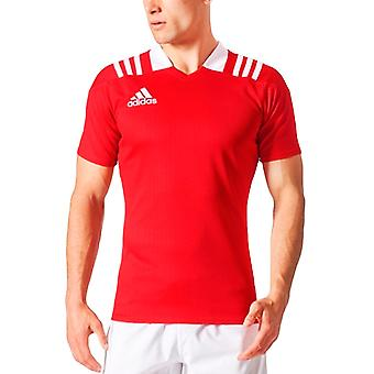 adidas Performance Mens 3 Stripe Monterad Rugby Sports Training Jersey Top - Röd