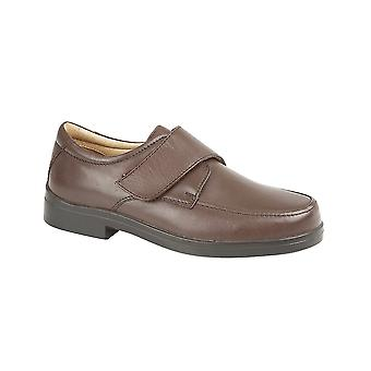 Roamers Brown Softie Leather Xxx Extra Wide Touch Fastening Casual Shoe