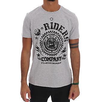 Frankie Morello Gray Cotton Riders Crewneck T-Shirt