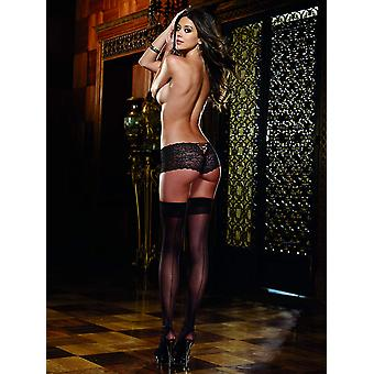 Dreamgirl Plus Size Sheer Thigh Highs with Back Seam, One Size, Black