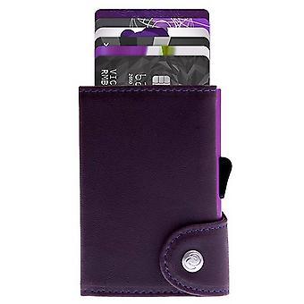C-Secure Prestige Leather Limited Edition Single Card Holder Wallet - Cardinale/Purple