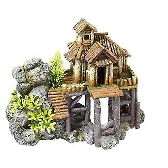 Classic For Pets Wood House / Rocks 230mm (Fish , Decoration , Ornaments)
