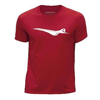 STUFF4 Boy's Round Neck T-Shirt/Aeroplane / BAC Concorde/Red
