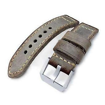 Strapcode leather watch strap 24mm miltat handmade vintage calf leather watch band, hand painted grey, hand stitches
