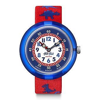 Flik Flak Watches Fbnp117 Dinosauritos Blue & Red Textile Watch