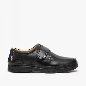 Roamers Wallace Mens Burnished Leder Wide Fit Casual Schuhe Schwarz