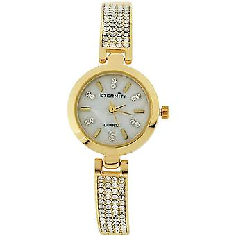 Eternity Ladies Watch fait avec Swarovski Crystals MOP Dial Goldtone Bracelet Strap ET74B