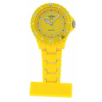 Prince London Plastic Yellow Rotating Bezel Unisex Nurses Fob Watch PI-4010