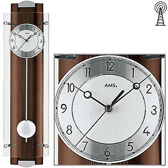 AMS 5259/1 ساعة الحائط راديو ساعة الراديو مع البندول الخشب الجوز لون البندول ساعة