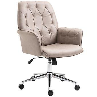 Vinsetto Bronzing Fabric Swivel Chair Mid Back Computer Seat Adjustable Armrest Desk Chair - Light Grey