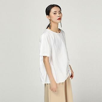 Short Sleeve  Drawstring Loose Brief Shirt Women Blouse