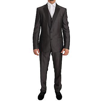 Dolce & Gabbana Grijze Zijdewol MARTINI Slim Fit 3-delige pak -- JKT1119088