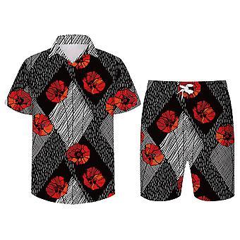 Allthemen Menăs 3D Red Flowers Suits 2-Pcs Shirt&Shorts