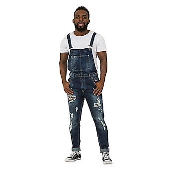 Alan Mens destruído jeans jardineiras