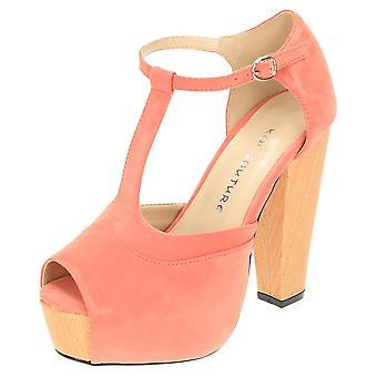Koi Footwear Peep Toe Shoes High Heel Platform T-Bar Sandals Suede