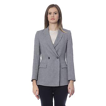 Grey Fitted Double Breasted Blazer