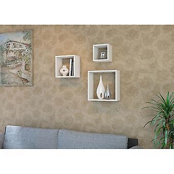 Fuji Color Weißes Regal aus Melaminischem Chip, PVC 43.6x19,5x43.6 cm, 33.6x19,5x33.6 cm, 23.6x19.5x23.6 cm