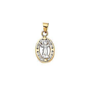 14k Yellow Gold and White Gold CZ Cubic Zirconia Simulated Diamond Divine Infant Religious Faith Inspiration Jesus Penda