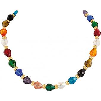 Eternal Collection Elegance Rainbow Multicoloured Crystal 18 Inch Gold Tone Necklace