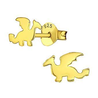 Kullattu sterlinghopea dragon stud korvakorut