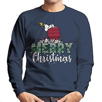 Jordnötter snoopy & Woodstock Merry Christmas män ' s tröja