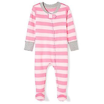 Mesiac a späť dievčatá' Organické Footed Zip-Front Sleep and Play, Pink / Multi Stri ...