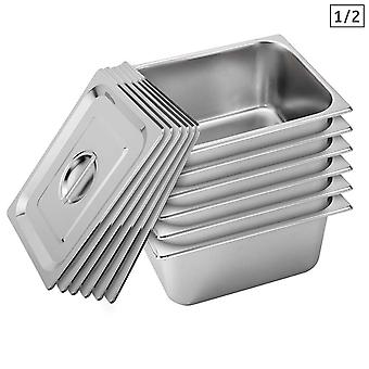 SOGA 6X Gastronorm GN Pan Full Size 1/2 GN Pan 15cm Deep Stainless Steel With Lid