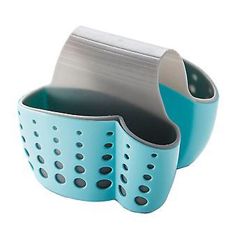 Saddle type Kitchen Sponge Sink basket Blue 14.5x14x12.4cm